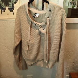 Cream/tan lace up Sweater